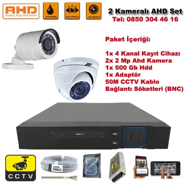 2 Kameralı Ahd Set - 2 Mp Kamera