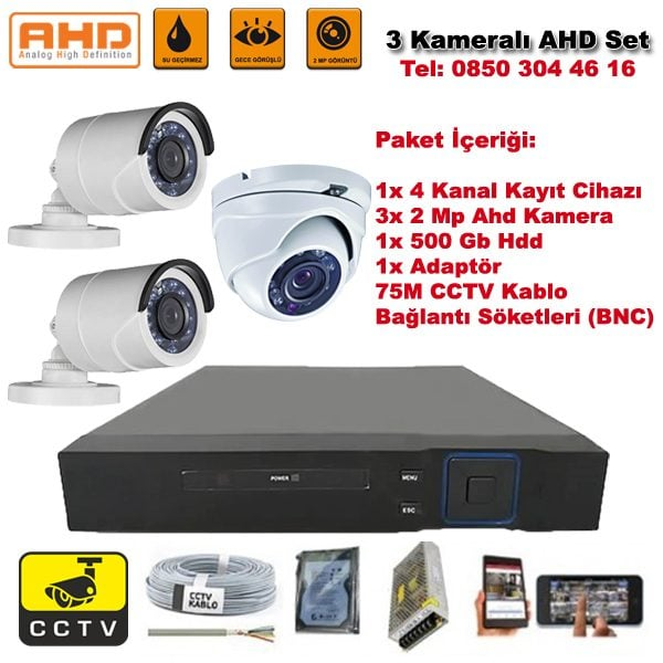 3 Kameralı Ahd Set - 2 Mp Kamera