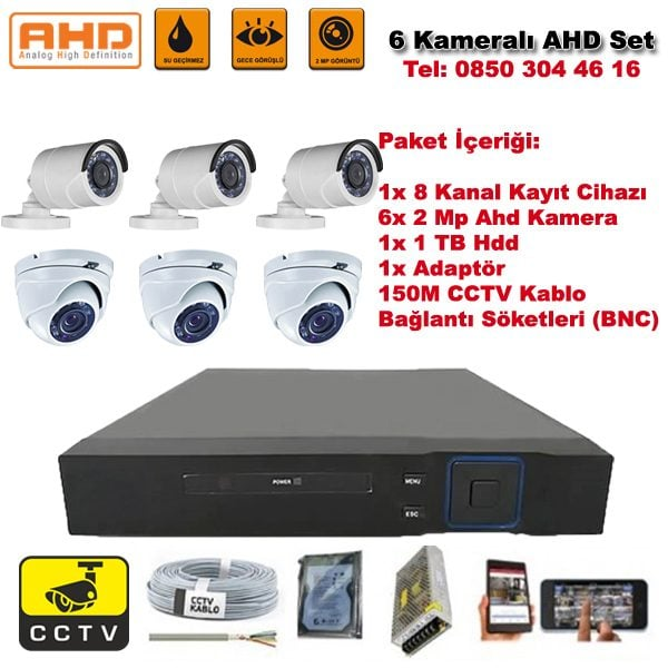 6 Kameralı Ahd Set - 2 Mp Kamera